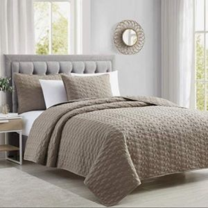 Quilt 3-Piece Microfiber Bed Set, King Size Taupe